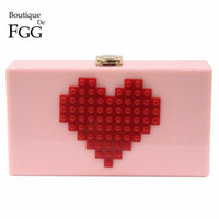Evening Bags ABS Party Wholesale- Ladies Red Heart Shape Pink Acrylic Box Clutch Bag Women Evening Bag Wedding Party Prom Shoulder Handbag Hardcase Metal Clutches