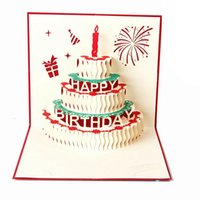 Wholesale 3D card birthday cake D Pop UP Gift Greeting Blessing Cards Handmade paper silhoue Creative Happy christmas cards
