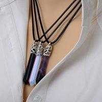 Wholesale Natural Quartz Pendant Stone Hexagonal Pendant Necklace Chakra Healing Quartz Point Crystal Point Gem Stone Necklace Jewelry
