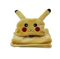 Wholesale Fleece Pikachu blanket Baby Cape Cartoon Poke Anime Cute Kawaii Hooded Coplay Cloak Wrap Air condition Lounged Blankets LJJO816