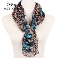 Wholesale The spring and autumn period and the chiffon scarves long super lady flowers leopard grain design printing scarf necklace