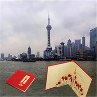 big greeting cards - The Oriental Pearl Pure Handmade D stereo cards hollow Postcard Shanghai Oriental Pearl big Christmas gift Greeting card