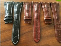 alligator leather strap - Handmade Leather Watchbands MM Alligator Strap Lines Men s Leather Watchbands For AP Watchbands Fast Delivery