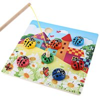Wholesale Popular Kids Colorful Magnetic Wooden Puzzles Ladybug Bug Beetles Catching Fishing Game Educational Learning Toy