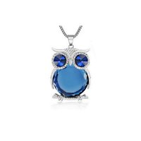 Wholesale 8 Colors Trendy Owl Necklace Fashion Rhinestone Crystal Jewelry Statement Women Necklace Silver Chain Long Necklaces Pendants