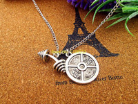 bent barbells - Fashion bending barbell necklace the heavy barbell with Lbs kg charms pendant necklace