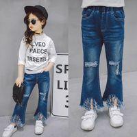 Wholesale 2017 Europe Fashion Girls Jeans Hole Tassels Denim Pants Bell bottoms Kids Children Girl Trousers Blue