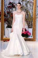 achat en gros de grande robe de mariée-Asymétrique corset sirène d'été robes de mariée 2017 avec drapé de corsage bustier bretelles retour grand arc à la ligne de mariage robes
