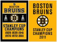 Wholesale Boston Bruins Flag x5 ft STANLEY CUP CHAMPIONS Metal Grommets US Sport Team Banner Digital Printing Bruins Flag