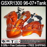 8gift Pour brillant orange SUZUKI Hayabusa GSXR1300 96 97 98 99 00 01 13MY75 GSXR 1300 GSX-R1300 GSX R1300 02 03 04 05 06 07 TOP noir Carénage
