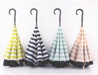 Wholesale Inverted Umbrellas Double Layer Protection C Hook Hands Inside Out Reverse Windproof Upside Down Umbrella designs Rain Umbrella TOP1562Q
