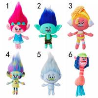 Wholesale 23cm cm Trolls Mega Town The Good Luck Trolls Ogres Poppy Branch Dream Works Doll Cartoon Movie Plush Toy Stuffed Dolls Anime Gift