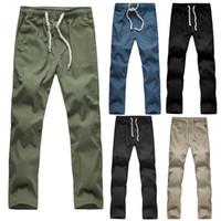 beach pant linen - JSEO Men Cotton Jersey Knit Pajama Pants Casual Beach Trousers Linen Summer Pants Elastic Waist Jogging Pants