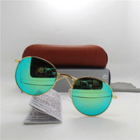 Wholesale Top quality Glass lens Round frame Fashion Men and Women Coating Sunglasses UV400 Brand Designer Vintage Sport Sun glasses With Brown box