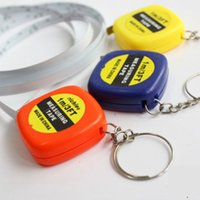 Wholesale measure tapes Mini M Tape Measure keychain keychains Steel Ruler Portable Pulling Rulers With Key Chain rings christmas gift