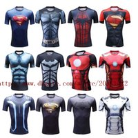 Wholesale Men s Pro Compression tights jersey fitness workout clothes Iron man captain America superman batman spiderman Cool running Ronaldo shirt