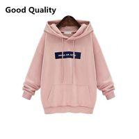 Wholesale Plus Size Harajuku Sweatshirt Women Cotton Casual Velvet Loose Print Letter Pink Hoodie Svitshot Women Hoodies Coat