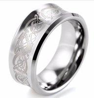 Nuevo 2017 SHARDON hombres Groove anillo de carburo de tungsteno con el patrón de dragón céltico láser grabado hombres banda de boda
