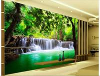 Wholesale d wallpaper custom photo non woven mural wall sticker d Green water falls painting d wall room murals wallpaper