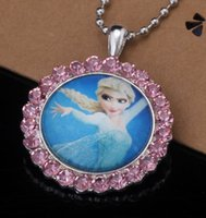 films en vrac achat en gros de-Locket Collier Film Frozen Figure Princess Anna Photo Pendentif Boutique Kid Birthday Cadeau de Noël 10 lot de morceaux Bijoux en vrac