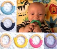 Wholesale 24 colors Baby Teething Ring Safety Teether Bell Natural Wood Circle With wool Wooden Teething Training Sensory Newborns Toys
