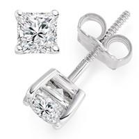 Wholesale 2 ct Princess Cut Solitaire Stud Earrings Lab Diamond k White Gold Screw Back