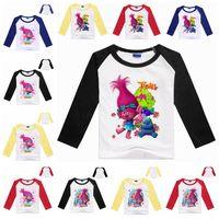 Wholesale Kids Cartoon Cute Trolls Poppy Branch T Shirts Boys Girls Holiday Casual Christmas Tops T Shirt Costume Long Sleeve Kids Clothing F449