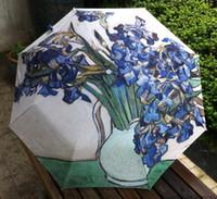 Wholesale oil painting Vincent Van Gogh The Iris Umbrella Fold Anti UV fashion hot selling abstract art