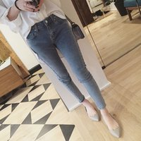 bead paintings - Cotton High Elastic Imitate Jeans Woman Knee Skinny Pencil Pants Slim Ripped Boyfriend Jeans For Women