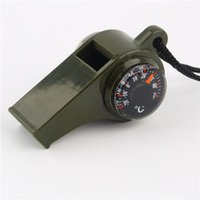 Wholesale 1PC New black Whistle Compass in1 Survival Camping Thermometer new brand