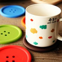 Wholesale Cute Design Silicone Cup Pad Colors Table Decal Button Coaster Cup Mat