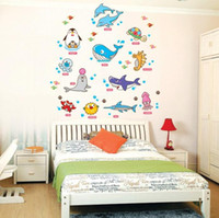 Removable american amusements - PVC marine amusement park O3d cean Fish Wall Stickers Boys Girls Children s room bedroom wall stickers decorative nursery school
