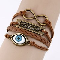 amber bronze - Hot Sale men Jewelry Retro Leather bracelets bangles Bronze Eye Charm bracelet for men Jewelry Pulsera over