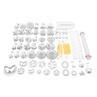 Wholesale 68Ps set DIY Cake Cutters Molds Foncdant Cake Cookie Sugar Craft Decorating Plunger Flowers Modelling Useful Tools