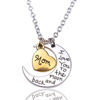 Wholesale Moon Necklaces Pendant Silver Crescent Moon Heart Charm I Love You to the Moon And Back Pendant Necklaces