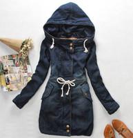 Wholesale 2017 Winter Women Coat Denim Long Thick Sleeve Cotton Jeans Warm Overcoat Woman Size M L XL Blue