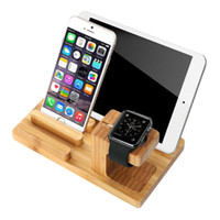 Wholesale Multi Function Natural Bamboo Wood Charge Station Charging Dock Cradle Stand Holders For iPad Air Air Mini For i Watch