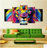 photo frame hd achat en gros de-Modern Animal Lion Painting Canvas Art HD Print 5pcs Canvas Art Wall Picture For Bed Room Unframed No Frame Gift Oil Photo 476