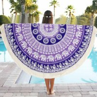 Wholesale Premium Purple Floral Round Gifts Beach Pool Beach Towel Mat Yoga Blankets Beach Cover Ups Bikini Summer Dress Swimwear Suit