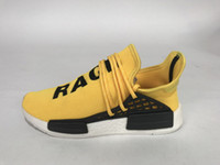 Wholesale FreeShipping Adidas NMD Pharrell Williams X Human Race R1 Running Shoes For Men White Black Yellow Sneaker Size With Box