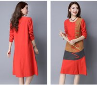Wholesale Ladies Clothing Autumn Fashion Casual Dress Spell color long sleeved dress personality Linen Blend women Dresses