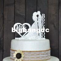 Wholesale 1701 Personalized Wedding Cake Topper Wedding Decoration Acrylic silver glitter Custom wedding cake topper personalized last name