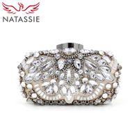 Venta al por mayor-NATASSIE mujeres de aleación de lujo rebordeados bolsos damas de noche de alta calidad de diamantes bolsos de diseño bolsos de boda embrague bolsos
