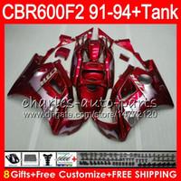 Revisiones 91 carenados honda cbr-8 regalos 23 colores para HONDA CBR600F2 91 92 93 94 CBR600RR FS 1HM45 llamas de plata roja CBR 600F2 600 F2 CBR600 F2 1991 1992 1993 1994 Carenado