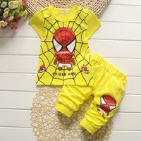 Cheap Spiderman Baby Boys Kid Sports Wear Tracksuit Outfit Summer Causal Clothes Cartoon Suit Kids Girl Clothing Set Toddler Tracksuit