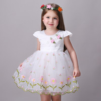 ball class - Baby Kids Clothing Girl s Dresses summer Spring Autumn high class Princess vintage Embroidered white Ball Gown party flower girl dress TuTu