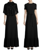 bandage crepe - black lace detachable cape belted crepe formal evening dresses short sleeves jewel neckline A line evening gowns