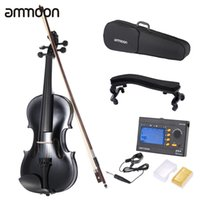 Wholesale ammoon Student Violin Metallic Black Equipped with Steel String with Arbor Bow Carrying Case for Beginners Music Lovers