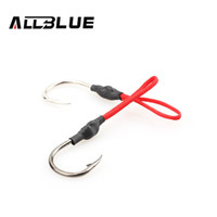 Wholesale ALLBLUE Stainless Steel Jigging Spoon Fishing Hook With PE Line Saltwater Jig Assist Fishhook For Sea Fishing Size