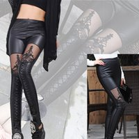 women winter tights - Ripped Tights Cut out Bandage Black Leggings Sexy Pants Lace Flower New Autumn Winter Woman Lady Leggings trousers Sexy Slim Pants